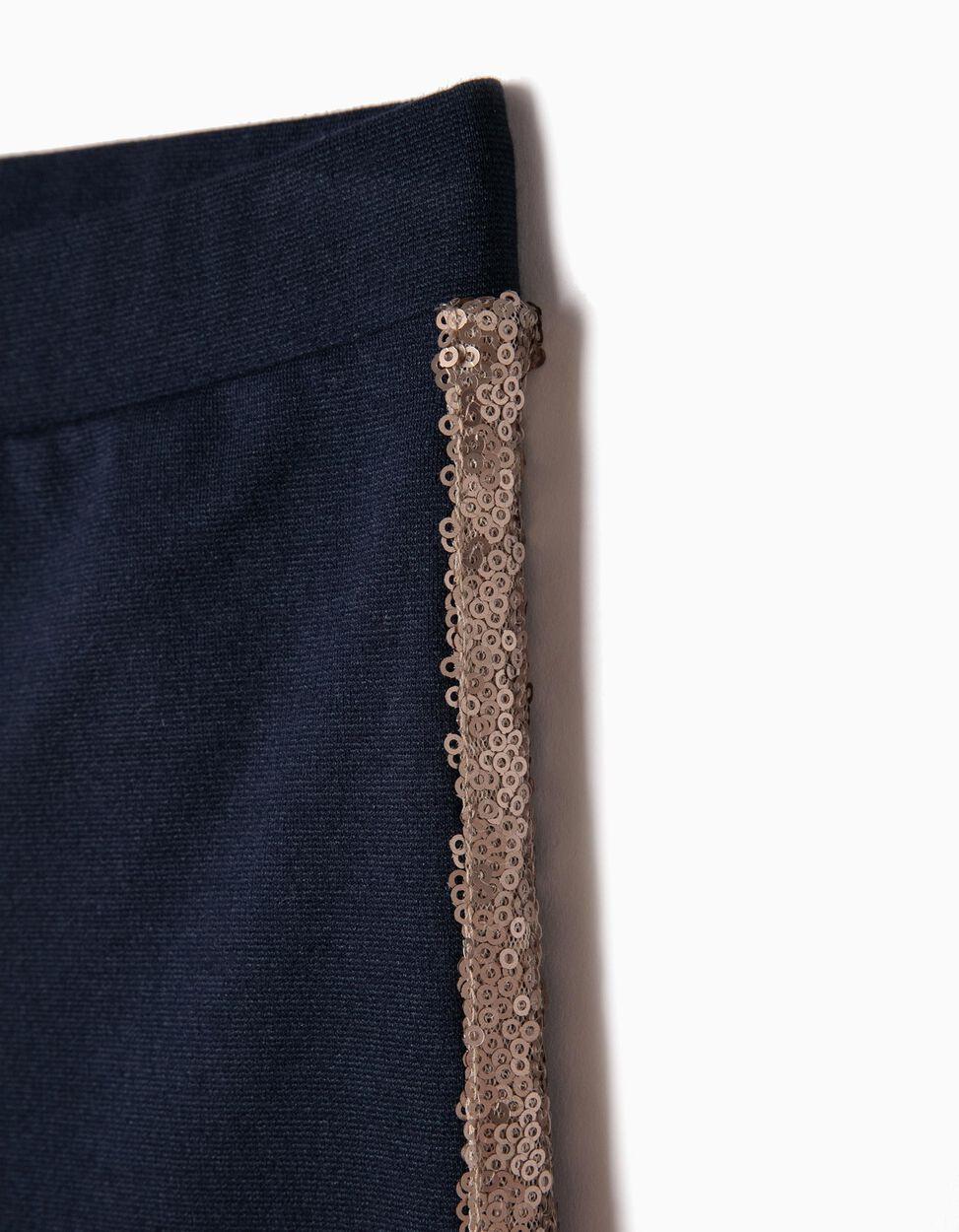 Pantalón de Punto Azul con Lentejuelas