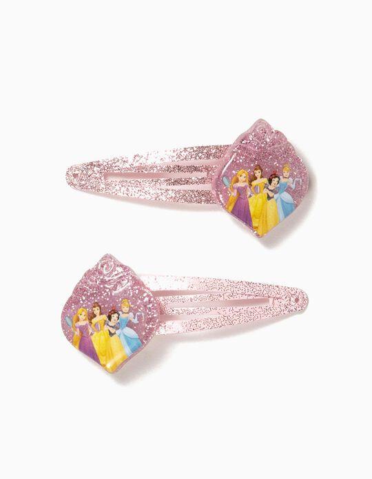 2 Horquillas del Pelo para Niña 'Disney Princess', Rosa