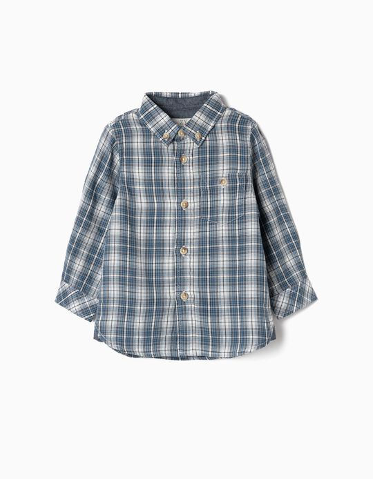 Camisa Xadrez para Bebé Menino, Azul