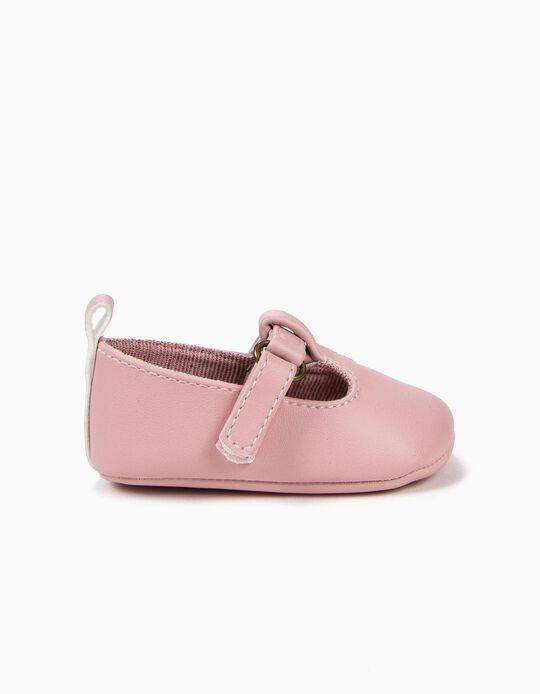 Sapatos para Recém-Nascida com Velcro, Rosa