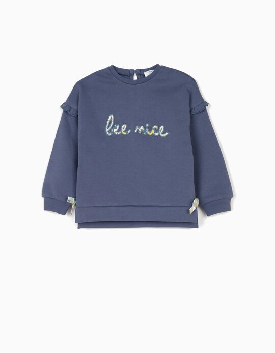 Sweatshirt for Baby Girls 'Bee Nice', Blue