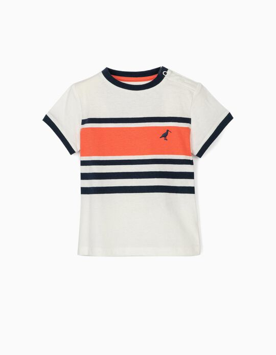 Striped T-shirt for Baby Boys, White/Blue/Orange