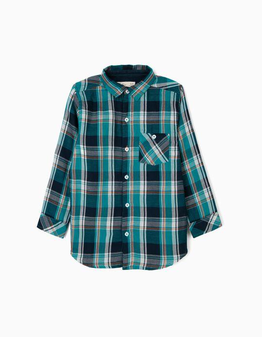 Camisa Ajedrez para Niño, Azul