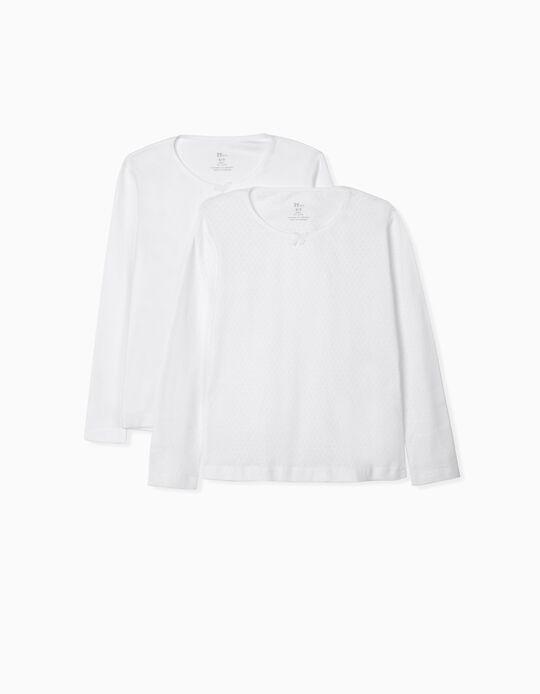 Pack of 2 Long-Sleeved Underwear Tops for Girls, White