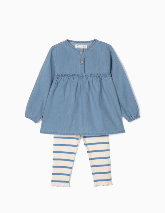 Blusa de Denim y Leggings de Canalé para Bebé Niña, Azul y Blanco