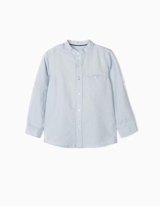 Camisa com Gola Mao para Menino, Azul