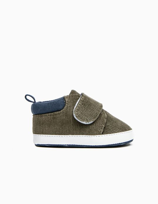 Zapatos de Pana para Recién Nacido, Verde