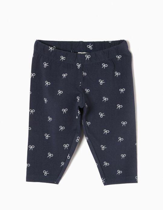 Leggings Curtas para Menina 'Bows', Azul Escuro