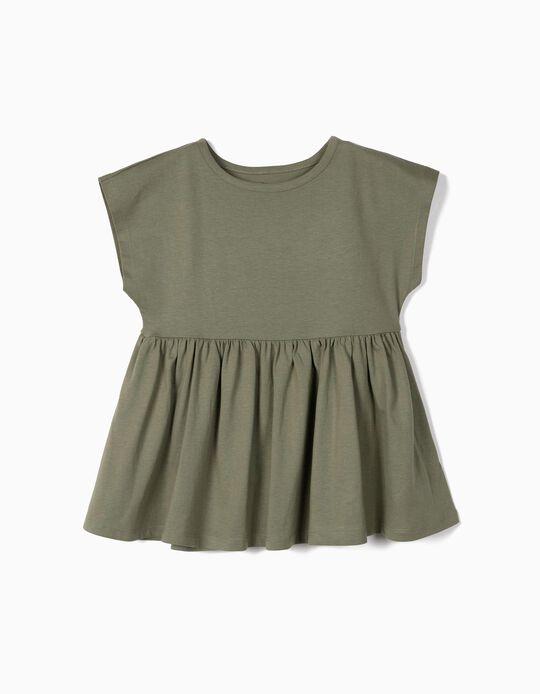 T-shirt com Folhos para Menina em Algodão Orgânico, Verde