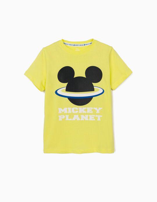 T-shirt para Menino 'Mickey Planet', Amarelo Lima
