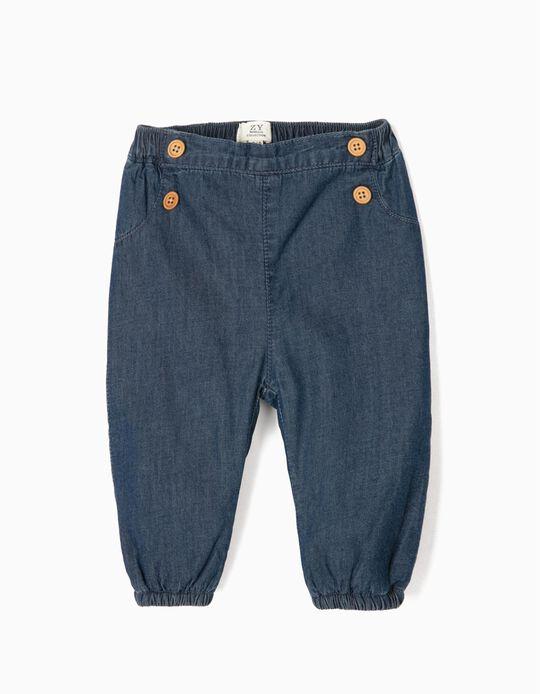 Pantalón con Botones para Recién Nacido 'Comfort Denim', Azul