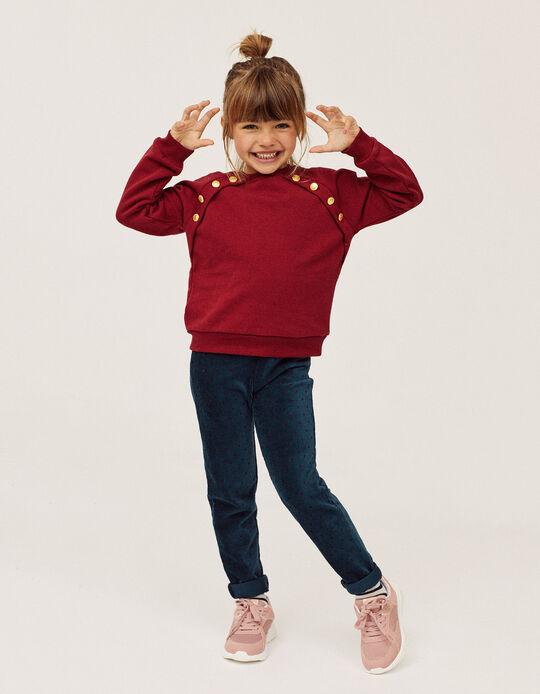 Conjunto Sweatshirt + Leggings para Menina, Vermelho/Azul Escuro