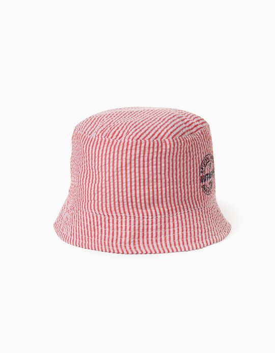 Striped Hat for Boys, 'ZY', Red/White