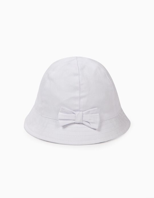 Hat for Girls with Bow, White