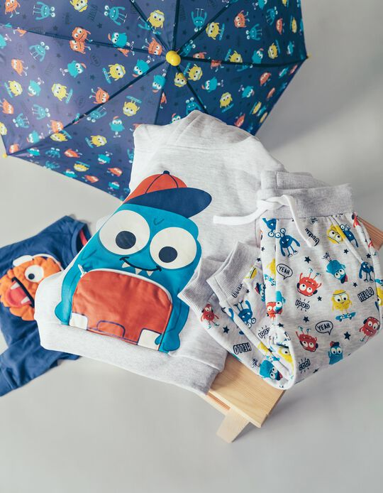 Sweatshirt com Capuz para Bebé Menino 'Cute Monster', Cinza