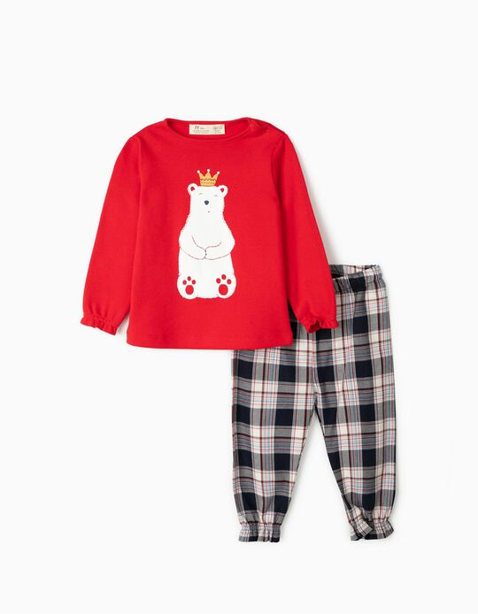 Pyjamas for Baby Girls 'Bear King', Red/Chequered