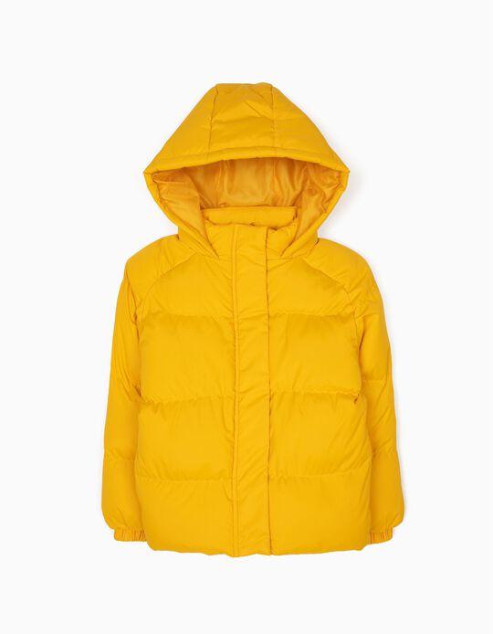 Blusão Puffer com Capuz Amarelo