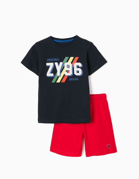 T-shirt & Shorts for Boys, 'ZY 96', Dark Blue/Red