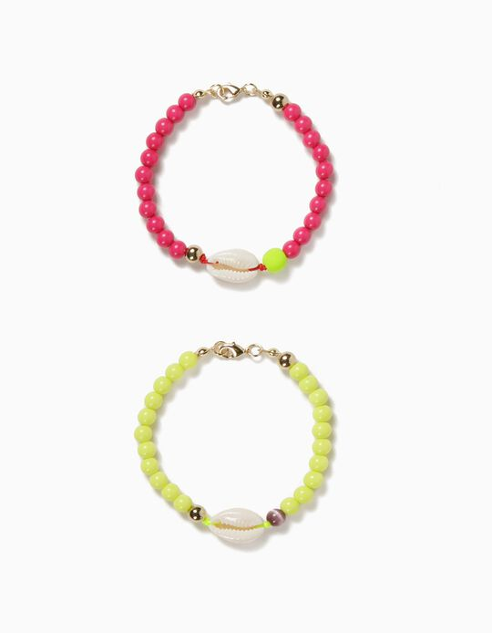 2 Bracelets with Beads for Girls, 'Seashells', Pink/Neon Yellow