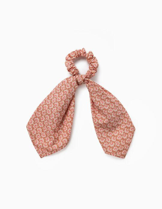 Fabric Hair Bobble for Girls, 'Flowers', Light Brown