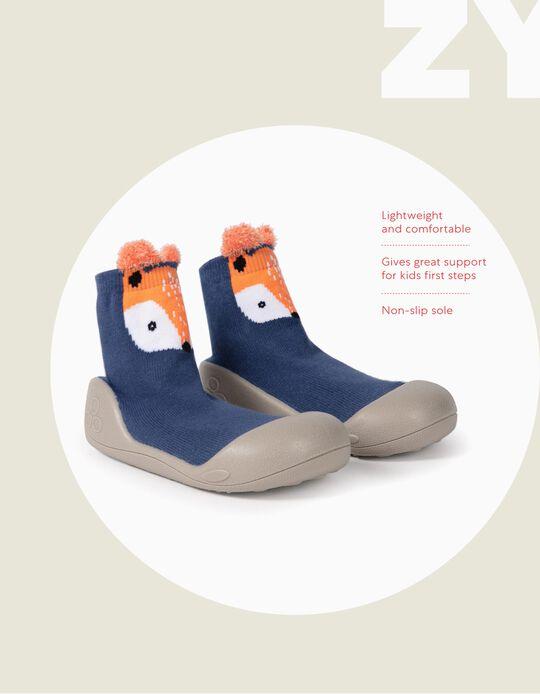 Meias-Pantufa Antiderrapantes para Bebé Menino 'Fox', Azul