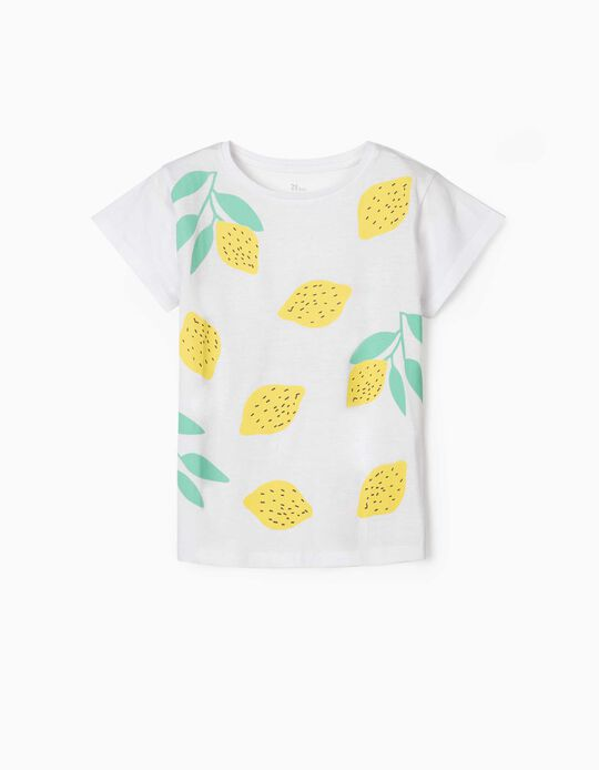 T-shirt para Menina 'Lemons', Branco