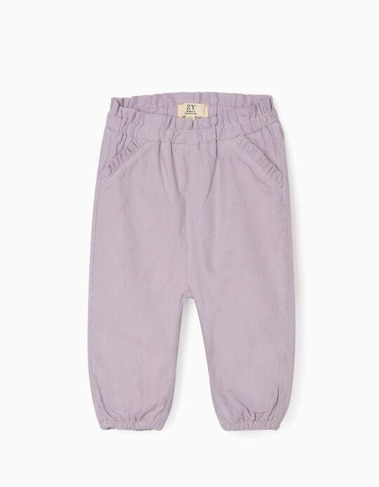 Corduroy Trousers for Newborn Baby Girls, Purple