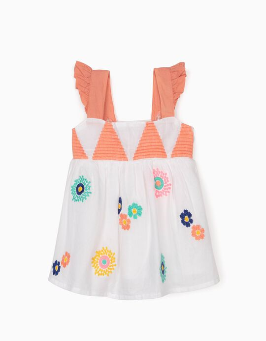 Strappy Blouse with Embroideries for Baby Girls, White