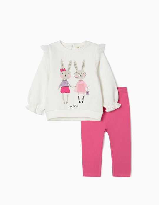 Sweatshirt and Leggings for Baby Girls, 'Friends', White/Pink