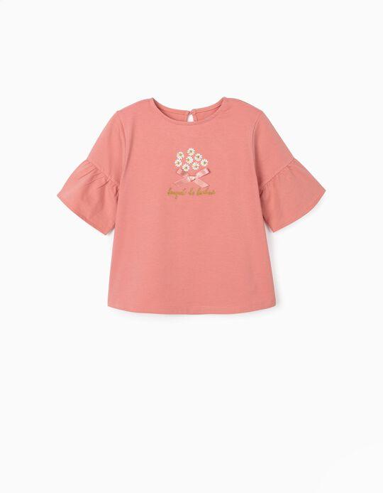 T-shirt com Bordados para Menina 'Bouquet de Bonheur', Rosa
