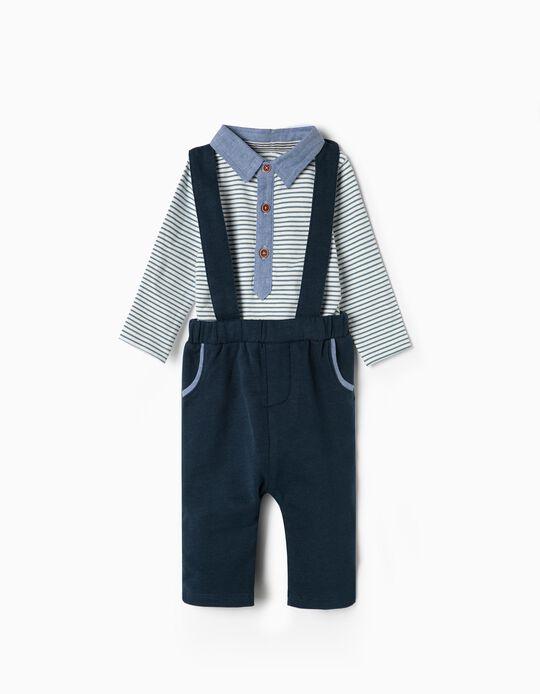 Pantalón con Tirantes y Body para Recién Nacido 'Rayas', Azul