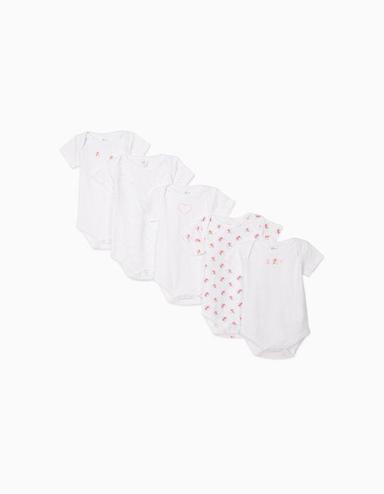 5-Pack Short-sleeved Bodysuits for Baby Girls 'Birds', White