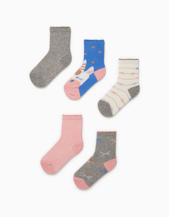 5 Pairs of Socks for Baby Girls, 'Unicorns', Multicoloured