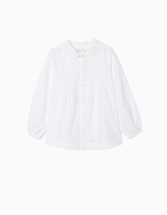 Camisa con Pliegues para Niña, Blanca