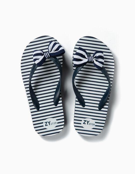 Chinelos para Menina 'Riscas e Laço', Azul e Branco