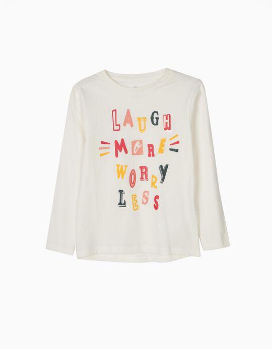 Camiseta de Manga Larga Glitter Text Blanca