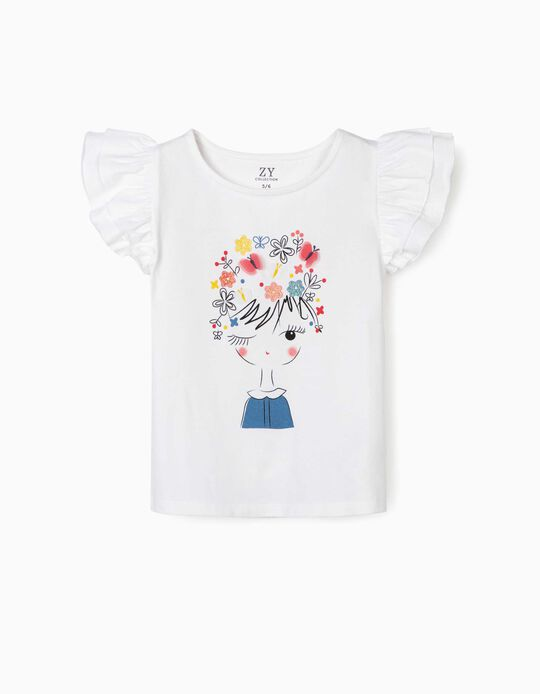 T-shirt para Menina 'Butterflies', Branco