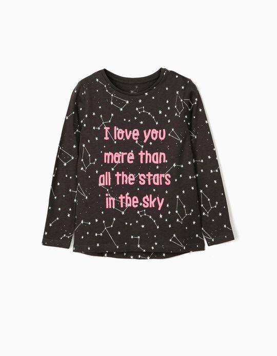 T-shirt manches longues fille 'Stars', gris foncé