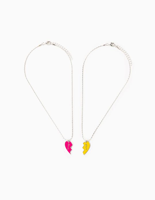 Pack 2 Collares Plateados Corazones BFF