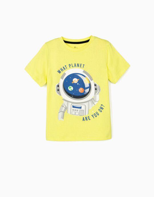 T-shirt para Menino 'What Planet are You?', Amarelo Lima