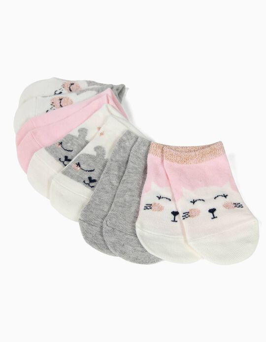 5 Pares de Calcetines Cortos para Bebé Niña 'Cute Animals', Multicolor