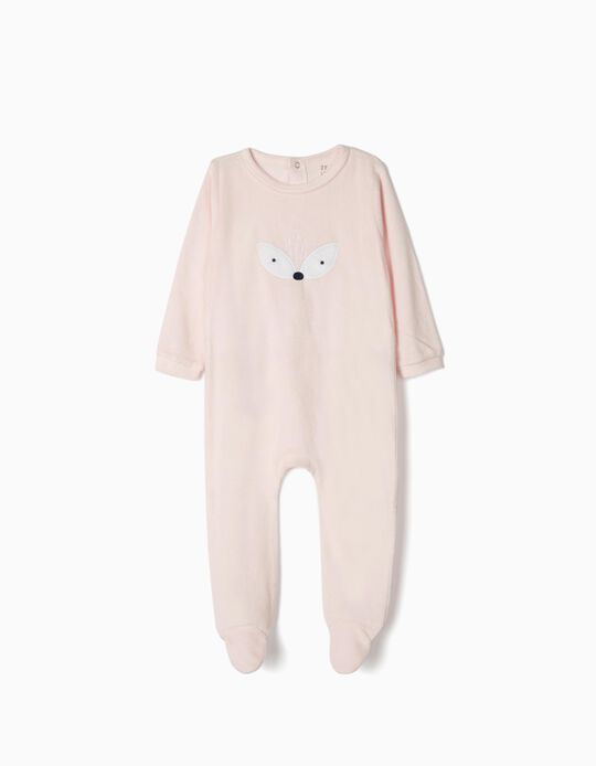 Velvet Sleepsuit for Baby Girls, Light Pink