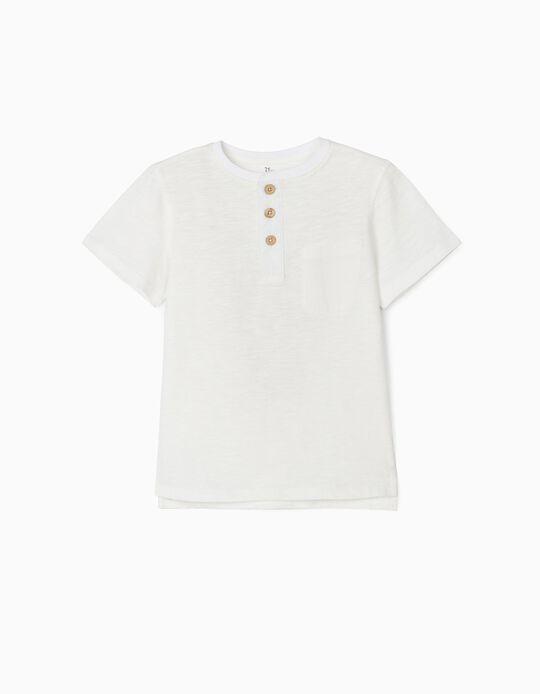 T-shirt com Botões para Menino, Branco