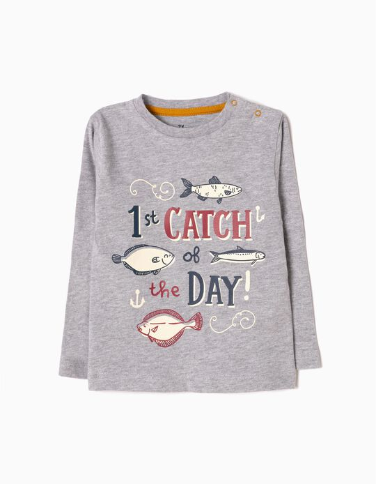Camiseta de Manga Larga Fish Gris