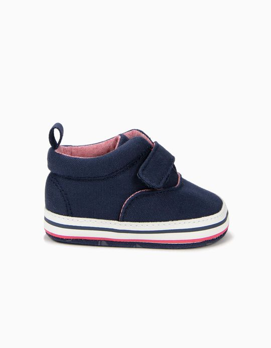 Zapatillas para Recién Nacido con Pieza Autoadherente, Azul Oscuro