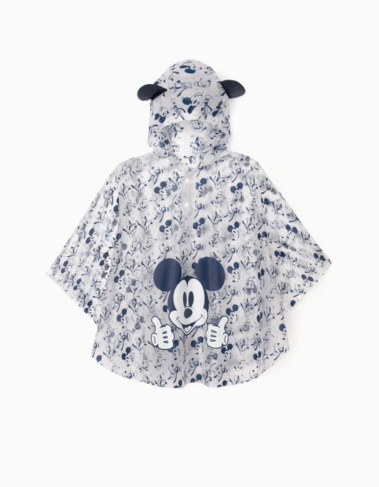 Poncho Rain Cape for Boys 'Mickey', Transparent/Blue