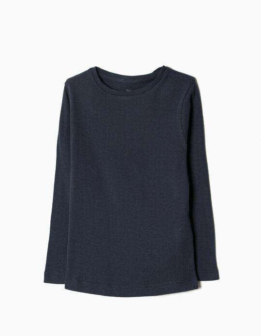 Camiseta de Manga Larga Básica Azul marino
