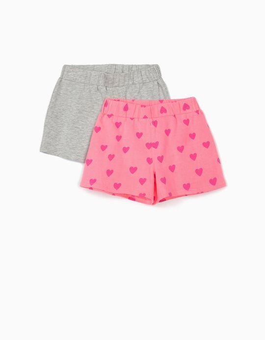 2 Calções Jersey para Menina 'Hearts', Cinza/Rosa
