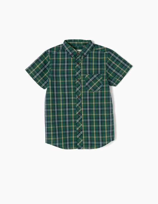 Camisa Menino Manga Curta Xadrez Verde e Amarelo