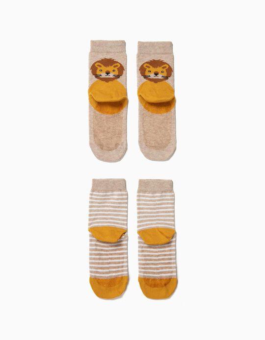 2 Calcetines Antideslizantes para Bebé Niño 'Animals', Beige